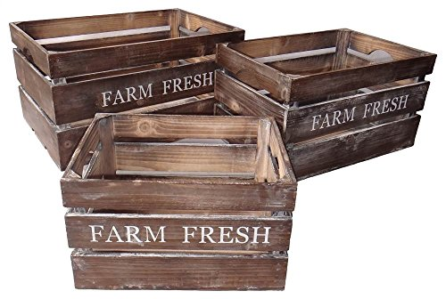 Cheung's FP-3508-3 Farm Fresh Wood Crate| Set of 3