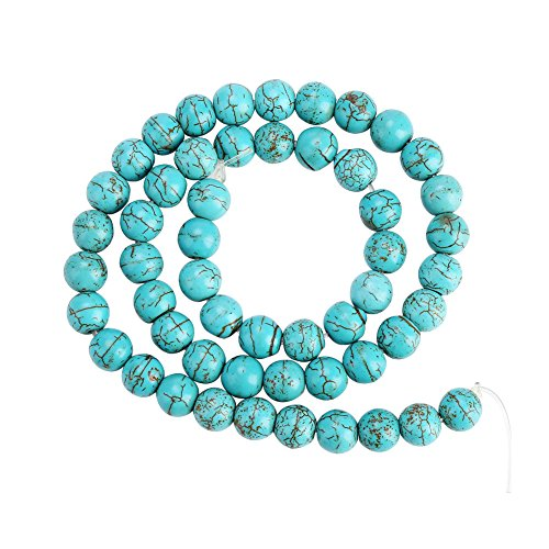 Filfeel Jewelry Beads, 8mm Faux Turquoise Round for Bracelet Necklace Earrings Making