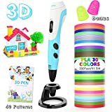 AGPTEK 3D Printing Drawing Pen for Kids, 3D Pen 30 Colors 300 Feet PLA Filament Refills, Non-Clogging Temperature Control, Automatic and Manual Feeding Mode, Holiday and Birthday Gift for Kids