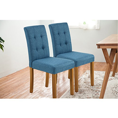 LSSPAID Classic Fabric Parson Dining Chairs with Solid Wood Legs,Set of 2(Blue)