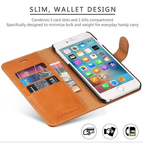 iPhone 6S Plus Hülle iPhone 6 Plus Lederhülle, SHIELDON Echt Ledertasche Schutzhülle Case für iPhone 6S Plus / 6 Plus ( 5,5 Zoll ) Lederhülle Schutzhülle mit Magnetverschluss Kartenfach Standfunktion,