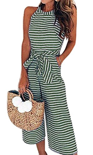 Cropped Sleeveless (Juniors Summer Casual Cute Beach Sleeveless Cropped Pants Wide Leg Jumpsuit with Pocket Green XL)
