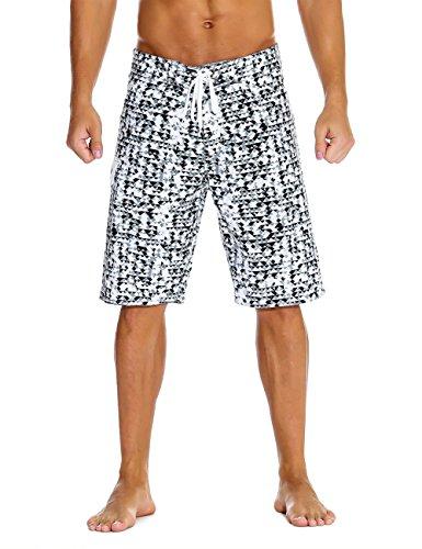 - Nonwe Men's Swimwear Grid Printed Quick Dry Beach Shorts with Lining Black 28