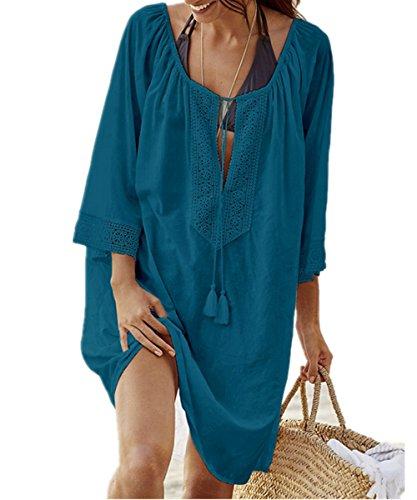Camicia Da Lunga Abito Up Beachwear Spiaggia Cotone Mini Vestito Donna Bikini Copricostumi Blu Cover L Pizzo Tunica Parei peach OHxvwz