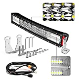 22 led light bar single row - LED Light Bar Curved, Autofeel 22 inch 320W Quad Row Driving Lights Spot Flood Combo Beam Light Bar Off Road Lights with Mounting Brackets and Wiring Harness for Truck Jeep ATV UTV Wrangler SUV Dodge