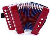 SKY Accordion Red Color 7 Button 2 Bass Kid Music Instrument Easy to Play