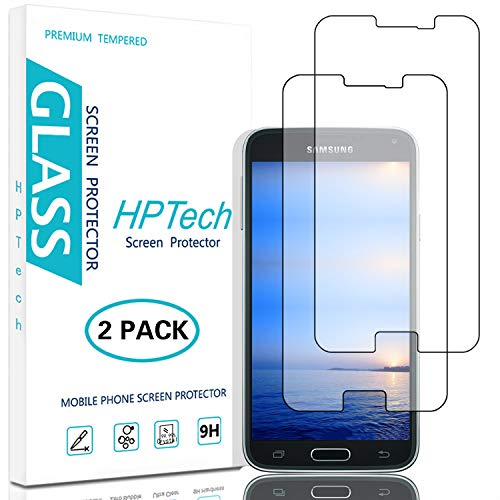HPTech Galaxy S5 Screen Protector - (2-Pack) for Samsung Galaxy S5 Tempered Glass Screen Protector Bubble Free 9H Hardness with Lifetime Replacement Warranty (S5 Galaxy Hd Protector Screen)