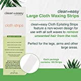 "Clean + Easy Cloth Waxing Strips, Large (Leg) Cloth Strips, 3"" by 9"", 100 Count"