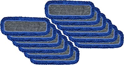 """Microfiber Dust Mop Pads 24"""" : Velcro, Launderable, with Fringe Yarn - 12 Pack"""