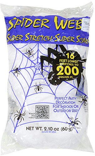 (White 16 ft Long Super Stretch Scary Spider Web Halloween Decoration (Pack of 2))