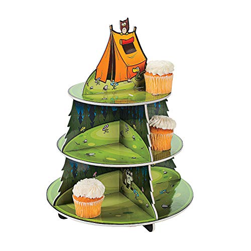 Fun Express - Camp Adventure Cupcake Holder for Birthday - Party Supplies - Serveware & Barware - Misc Serveware & Barware - Birthday - 1 Piece