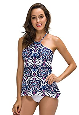 FanShou Women High Neck Halter Two Pieces Tankini Top Swimsuit Set with Briefs