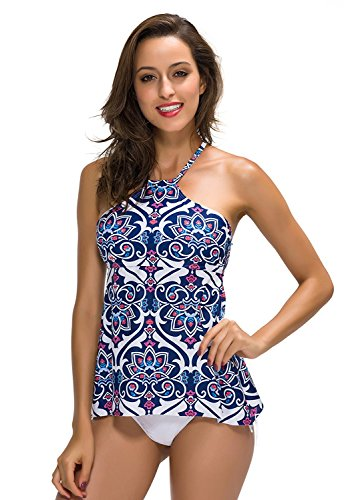 FanShou Women High Neck Halter Two Pieces Tankini Top Swimsuit Set with Briefs XL