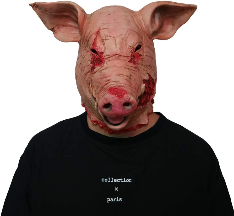 HDNSA Horror Pig Overhead Animal Mask Máscara de látex de cerdo ...