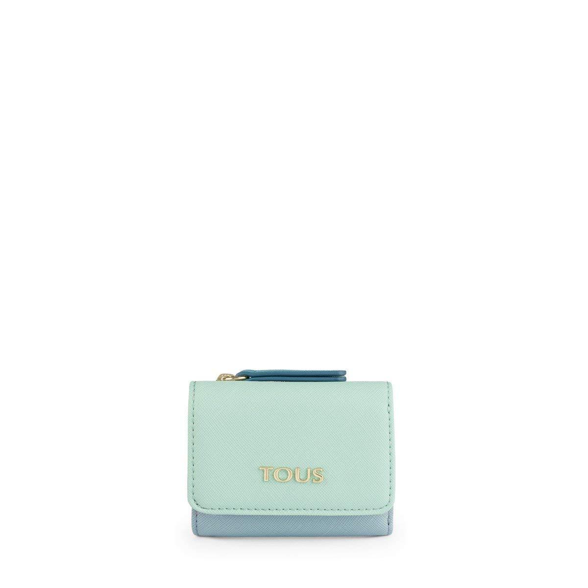 Tous Monedero S. Solapa Essence Azul-Turquesa, Mujer, 9x8x3 cm (W x H x L)