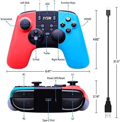 JYSW Pro Wireless Controller Compatible with Switch/Switch Lite, Remote Controller Gamepad Supports Gyro Axis & Dual Vibration