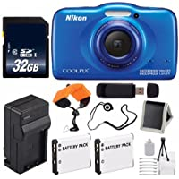 Nikon COOLPIX S33 Digital Camera (Blue) International Model No Warranty + Replacement Battery + External Charger + 32GB Card + Floating Strap + USB Reader + Memory Card Wallet + Cap Keeper Basic Intro Review Image