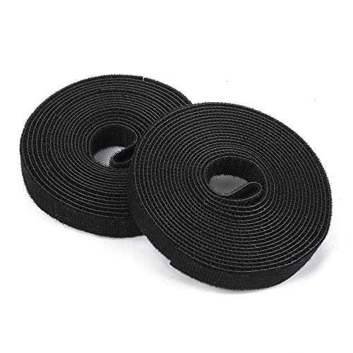 DTOL Fastening Tape Hook & Loop Cable Ties Roll and Reusable Cord Black Length About 15 Feet Width About 0.75 Inch 2 Pack