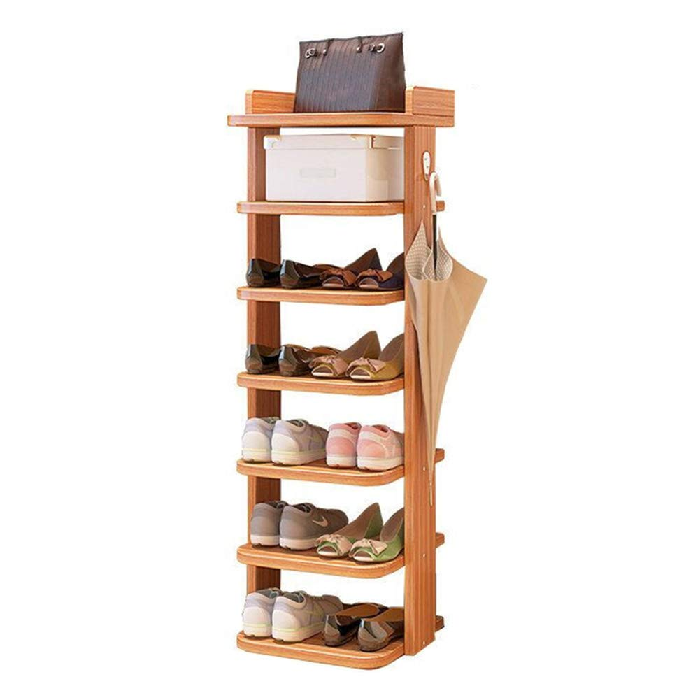JIANFEI Shoe Shelf Rack Multi-Layer Multifunction Waterproof Large Storage Space Solid Wood 2 Colours (Color : Walnut Color, Size : 27.5x8x101cm)