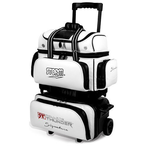 Storm Bowling Products 4 Ball Rolling Thunder Signature Bowling Bag- White/Black