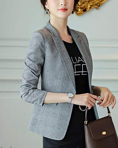 Traje Casual Oficina Chaqueta Cuadros Mujeres De Pantalon Blazer Y Shifan Elegante vwYB1Uxq