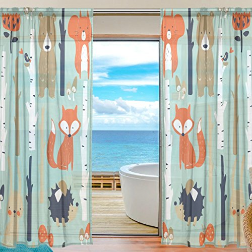 SEULIFE Window Sheer Curtain, Animal Fox Bear Rabbit Flower Voile Curtain Drapes for Door Kitchen Living Room Bedroom 55x78 inches 2 Panels by SEULIFE