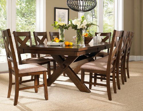 Roundhill Furniture Karven 9-Piece Solid Wood Dining Set with Table and 8 Chairs