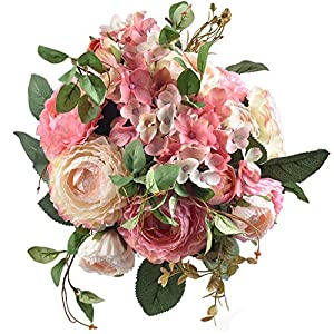 Ivalue 2PCS Artificial Rose Flower Arrangements Wedding Bouquets Silk Fake Flowers Plants for Home Decoration (B-Champage Pink, 2) 36