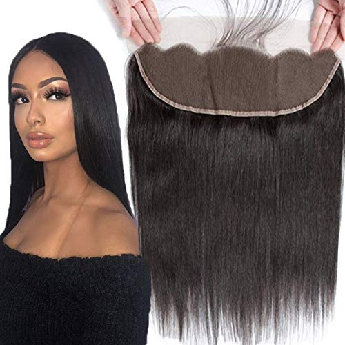 Brazilian Virgin Human Hair 100% Unprocessed Silky Straight lace Frontal With Baby Hair Remy Hair Ear to Ear Lace Closure Natural Black Color (12 Inch 13x4 frontal)