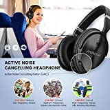 Mpow H5 Active Noise Cancelling Bluetooth Headphones Over Ear, Stereo Wireless Headphones w/ mic, Never Power off with Backup Audio Cable, Foldable Headset with Carrying Case for PC/ Cell Phones/ TV