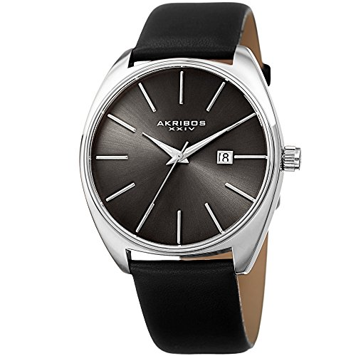 Akribos XXIV Men's Silver-Tone Case with Silver-Tone Accented Gray Dial on Black Genuine Leather Strap Watch - Tone Dial Gray