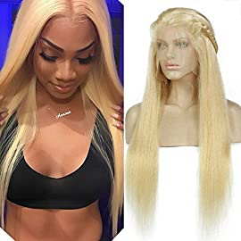 613# Pure Blonde Human Hair Lace Front Wigs for Women with Baby Hair Bleached Knots Honey Blonde Glueless Wig with Combs and Strap (10inch, 150% Full Lace Wig)