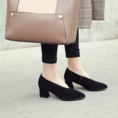 Los Altos de de Perezosos la SED Cuero Mujeres 7cm Los de Primavera Primavera de Temprana Zapatos Los Zapatos Los de la OL con Las Friegan Ásperas Talones con Zapatos Negro txqwwvSY