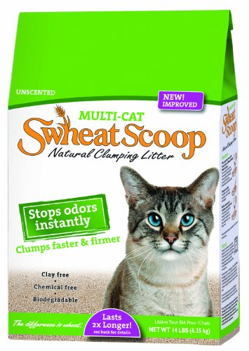 Swheat Scoop Multi Cat Natural Wheat Cat Litter, 14 Pound Bag, My Pet Supplies