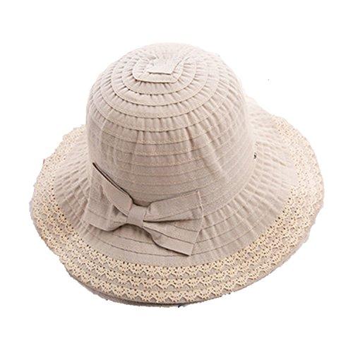(Sunscreen Foldable Cotton Linen Cap Curling Edge Lady Fisherman Hat Out Sun Shade Sun Hat)