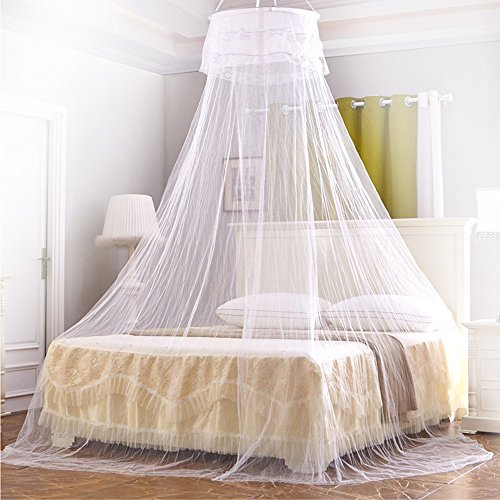 Price comparison product image Mosquito Net, Ubegood Bed Canopy Round Lace Dome Fits Queen Beds Circular Natural kids bed canopy Screen Netting Curtains Insect Protection Repellen Suitable for Indoor or Outdoor Use