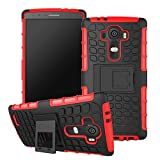 G4 Case, Hybrid Heavy Duty Armor Cover Double Layer Protection Shock Proof Shell [Anti Slip] [Built-In Kickstand] Slim Skin for LG G4 (Free Gifts: Stylus + Screen Protector) -Red