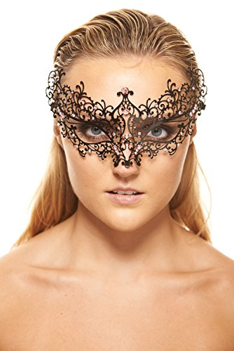 KaysoInc Delicate Baroque Thin Black Florid Laser Cut Metal Mask with Clear Rhinestones