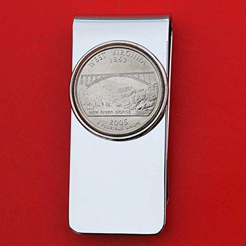 (US 2005 West Virginia State Quarter BU Uncirculated Coin Solid Brass Silver Money Clip New - High Quality)
