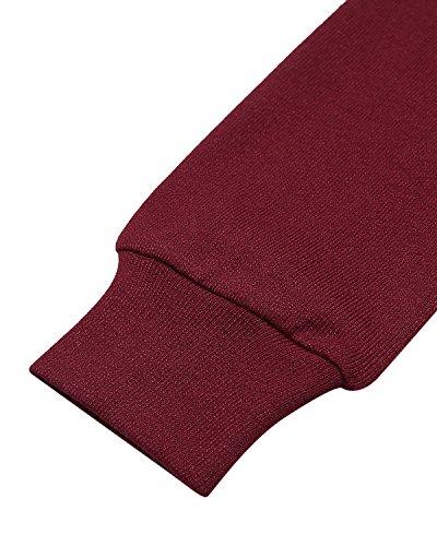 ACHIOOWA Maglietta Top Lunga Manica Basic Maglie Elegante T Spalline Senza Bordeaux Shirt Donna Moda Casual HH15awrq