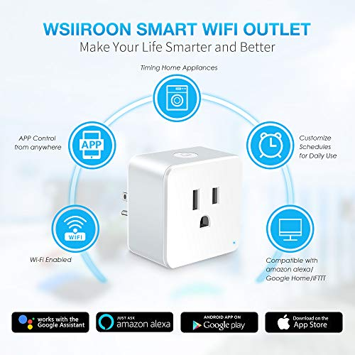 WiFi Smart Plug, Wsiiroon Upgraded Mini Smart Outlet with WiFi
