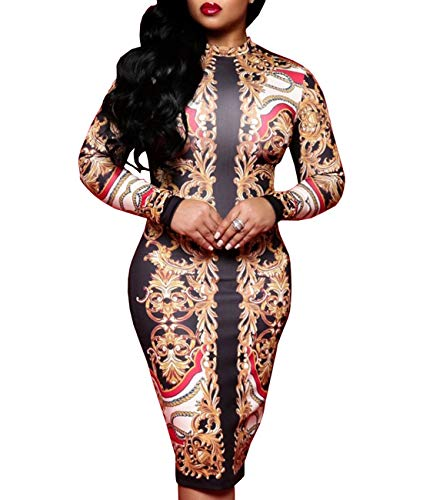 Manual Print - Women's Floral Sexy V-Neck Midi Juniors Dresses Casual Bodycon Long Sleeve Club Outfits