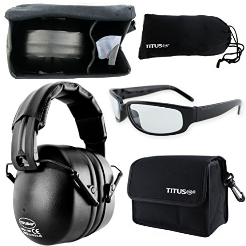 TITUS Earmuff/Glasses Combo - Onyx Black (37NRR) Muffs & G Series Safety Glasses - Ear+Eye Protection Bundle (EarMuffs, Glasses, and Carrying Case) - Personal Safety, Shooting Gear, Portable Pouches