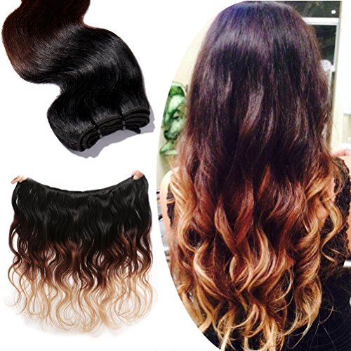 100% Real Remy Virgin Human Hair 22 Inch Ombre Body Wave 1 Bundle Unprocessed Indian Hair Weave Extensions 7A Grade -Natural Black to Light Auburn to Dark - Auburn Mall In Stores The