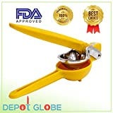 Lemon Juicer Squeezer Zinc Alloy Yellow With Silicone Handles 15' Length - By Depot Globe