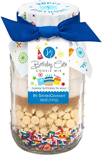 Sisters' Gourmet Happy Birthday Cake Cookie Mix with Blue Ribbon, 26 Ounce (Happy Birthday Chocolate Cake Recipe)