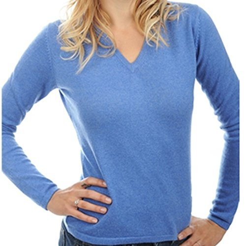 Balldiri 100% Cashmere Kaschmir Damen Pullover 2-fädig V-Ausschnitt blau meliert M