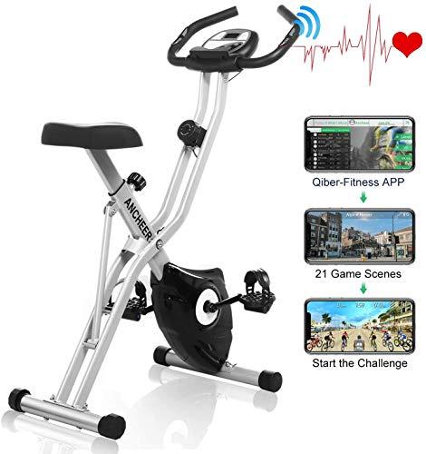 🥇 Ancheer Bicicleta Estática Plegable Bicicleta de Ejercicio 10 Niveles de Resistencia Magnética
