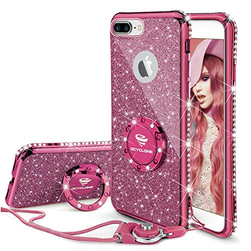 OCYCLONE iPhone 8 Plus Case, iPhone 7 Plus Case for Girl Women, Glitter Cute Girly Diamond Rhinestone Bumper with Ring Kickstand Protective Phone Case for iPhone 8 Plus / 7 Plus - Deep Purple
