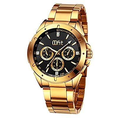 Gold Watches for Men, Men's Gold Stainless Steel Luxury Analog Wrist Watch with Classic Black Dial by OOFIT INC.